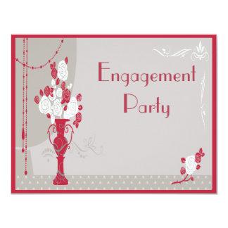 Elegant Art Deco Red & White Roses Engagement Card