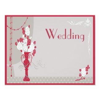 Elegant Art Deco Red & White Roses Wedding Card
