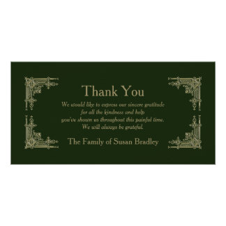 Elegant Art Deco Vintage 2 Sympathy Thank You Card