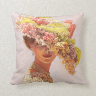 Elegant Art Decor Pillow floral hat Victorian lady