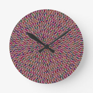 Elegant Artist created Energy Texture GOODLUCK fun Round Wallclocks
