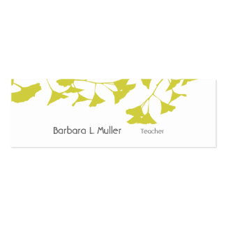 Elegant Artistic Nature Golden Ginkgo Double-Sided Mini Business Cards (Pack Of 20)