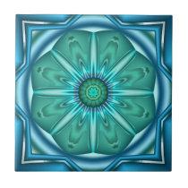Elegant Artistic Teal Geometric Bathroom Tile