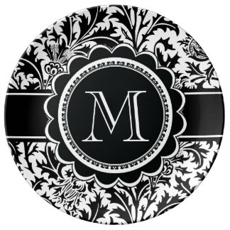 Elegant Arts and Crafts William Morris Monogrammed Porcelain Plates