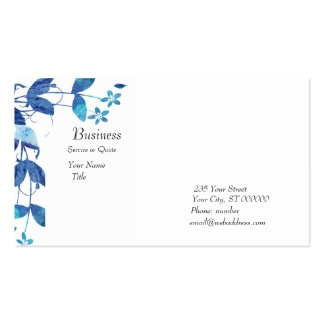 Elegant Artsy Blue Watercolor Floral Double-Sided Standard Business Cards (Pack Of 100)