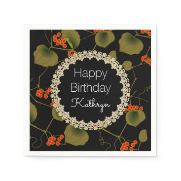 think_out_loud Elegant Asian Floral Birthday Napkin