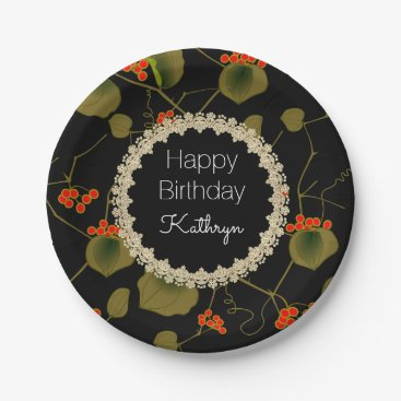 think_out_loud Elegant Asian Floral Birthday Paper Plate