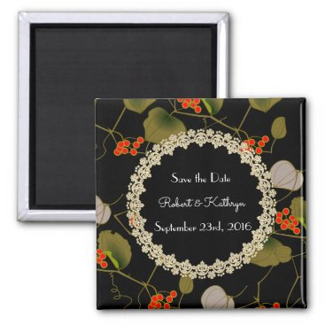 """think_out_loud Elegant Asian Floral """"Save the Date"""" Magnet"""