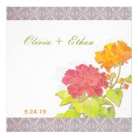 Elegant Asian Peony + Damask Floral Wedding Invite