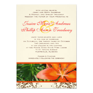 "Elegant Asiatic Lily Wedding Invitation 5"" X 7"" Invitation Card"