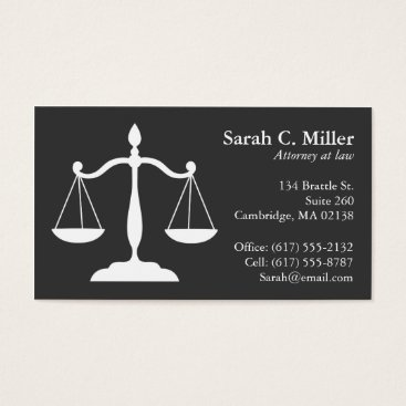 Professional Business Elegant Attorney-Law Office Business Card | Grey