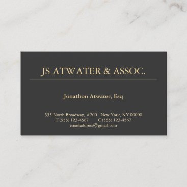 Elegant Attorney Lawyer Professional Black Business Card