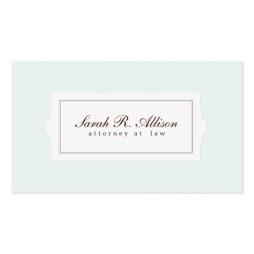 Elegant Attorney Plaque Style Light Blue Double-sided Standard Business Cards (pack Of 100)