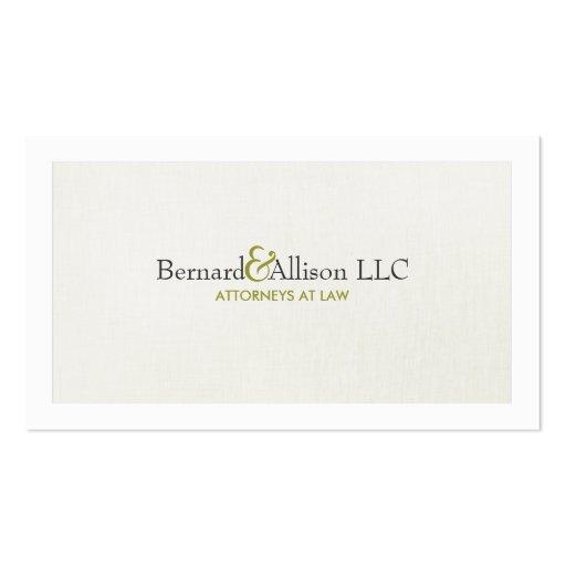 Elegant Attorney Subtle Linen Look Business Card