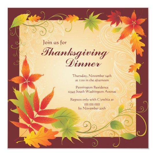 Elegant Fall Color Wedding Inviation: Elegant Autumn Color Thanksgiving Party Invitation