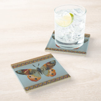 Elegant Autumn Colored Monarch butterfly Borders Glass Coaster