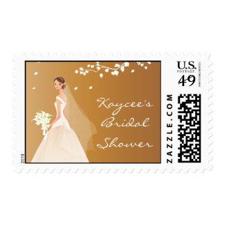 Elegant Autumn Dark Gold Bride Bridal Shower Stamps