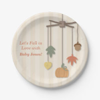 Elegant Autumn Fall Baby Shower Supplies Paper Plate