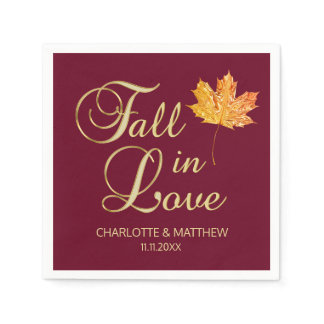 Elegant Autumn Fall in Love Burgundy Wedding Napkin