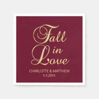 Elegant Autumn Fall in Love Burgundy Wedding Napkin