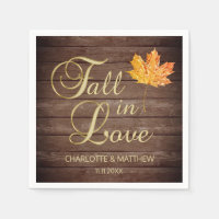Elegant Autumn Fall in Love Rustic Country Wedding Napkins