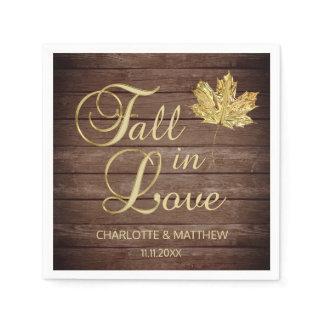 Elegant Autumn Fall in Love Rustic Country Wedding Paper Napkin