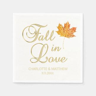 Elegant Autumn Fall in Love White Color Wedding Napkin
