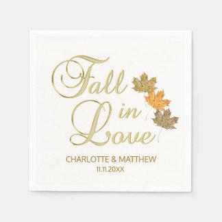 Elegant Autumn Fall in Love White Color Wedding Paper Napkin