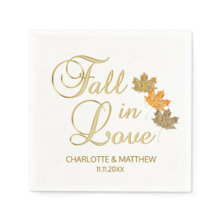 Elegant Autumn Fall in Love White Color Wedding Paper Napkin