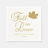 Elegant Autumn Fall in Love White Gold Wedding Paper Napkin