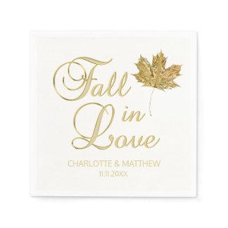Elegant Autumn Fall in Love White Gold Wedding Paper Napkin