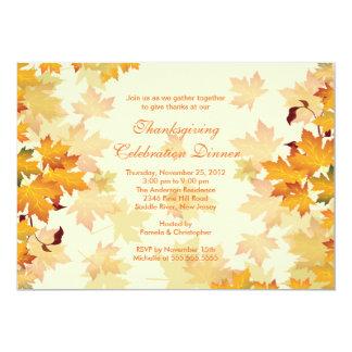 "Elegant Autumn Fall Leaves Thanksgiving Invitation 5"" X 7"" Invitation Card"