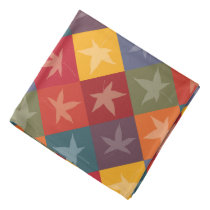 Elegant Autumn Foliage Checkerboard Pattern Bandana