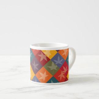 Elegant Autumn Foliage Checkerboard Pattern Espresso Cup