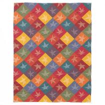 Elegant Autumn Foliage Checkerboard Pattern Fleece Blanket