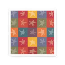 Elegant Autumn Foliage Checkerboard Pattern Paper Napkin