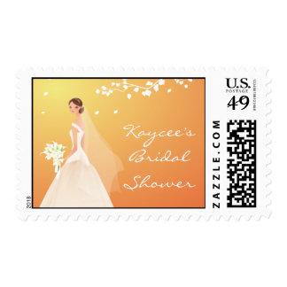 Elegant Autumn Gold Bride Bridal Shower Postage Stamp