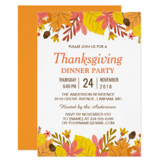 thanksgiving party dinner invitations announcements zazzle