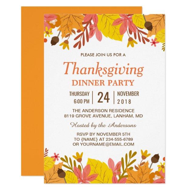 Elegant Autumn Leaves Thanksgiving Dinner Party Card