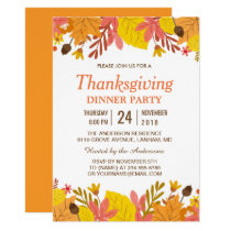 Elegant Autumn Leaves Thanksgiving Dinner Party Invitation