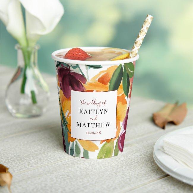 Elegant Autumn Watercolor Floral Paper Cups