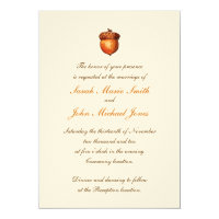 Elegant Autumnal Acorn Invitation