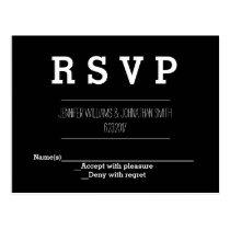 Elegant B&W Wedding RSVP Cards