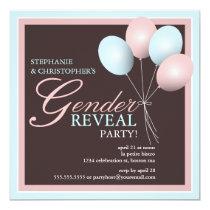 "Elegant Baby Balloon Gender Reveal Invitation 5.25"" Square Invitation Card"