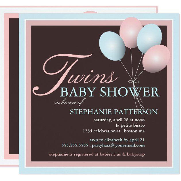 twins pink blue baby shower invitations & announcements | zazzle, Baby shower invitations
