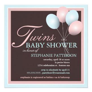 Elegant Baby Balloon Twins Baby Shower Invitation
