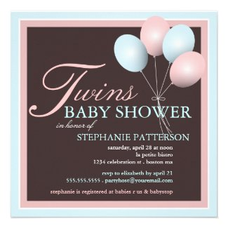 Baby shower invitations for twins baby shower ideas themes games elegant baby balloon twins baby shower invitation filmwisefo