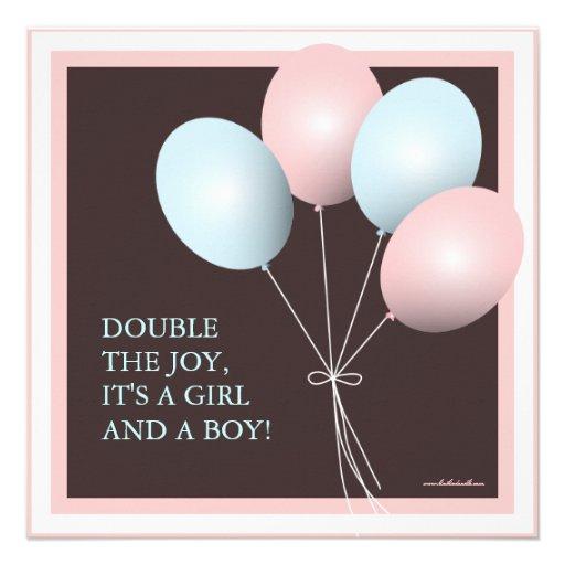 Elegant Baby Balloon Twins Baby Shower Invitation (back side)