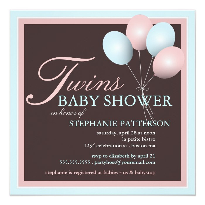 elegant baby balloon twins baby shower invitation zazzle