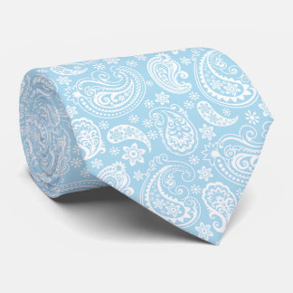 Elegant Baby Blue And White Vintage Paisley Neck Tie